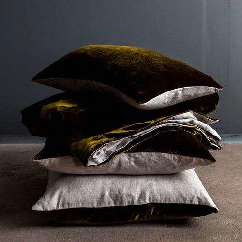 Velvet & Linen  Throw - Golden Serge